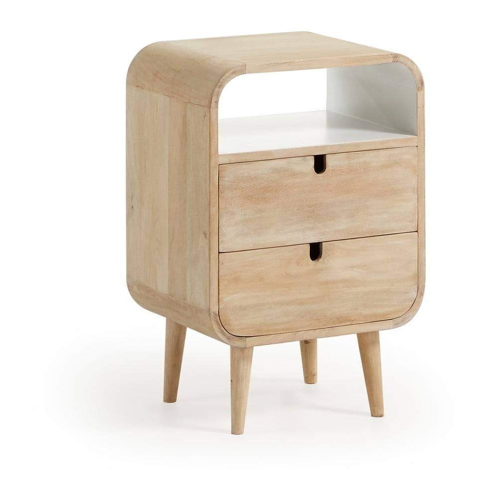 La Forma Nočný stolík z mangového dreva s 2 zásuvkami La Forma Gerald, 40×30cm