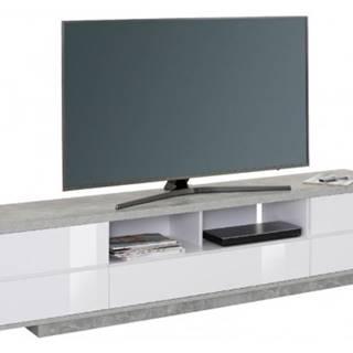 Široká TV skrinka Typ 7714, beton/biely lesk%