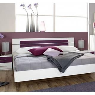 Posteľ s nočnými stolíkmi Burano 160x200 cm, biela/fialová%