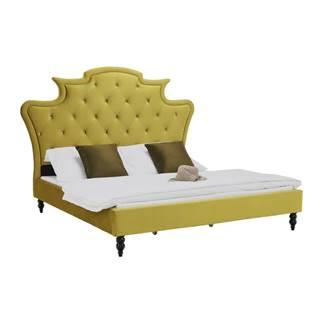 Luxusná posteľ zlatá Velvet látka 160x200 REINA