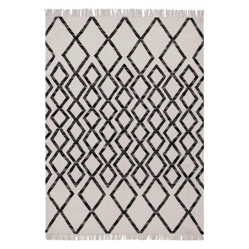 Asiatic Carpets Béžovo-čierny koberec Asiatic Carpets Hackney Diamond, 160 x 230 cm