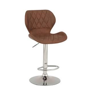 Barová stolička hnedá/chróm SOFALA