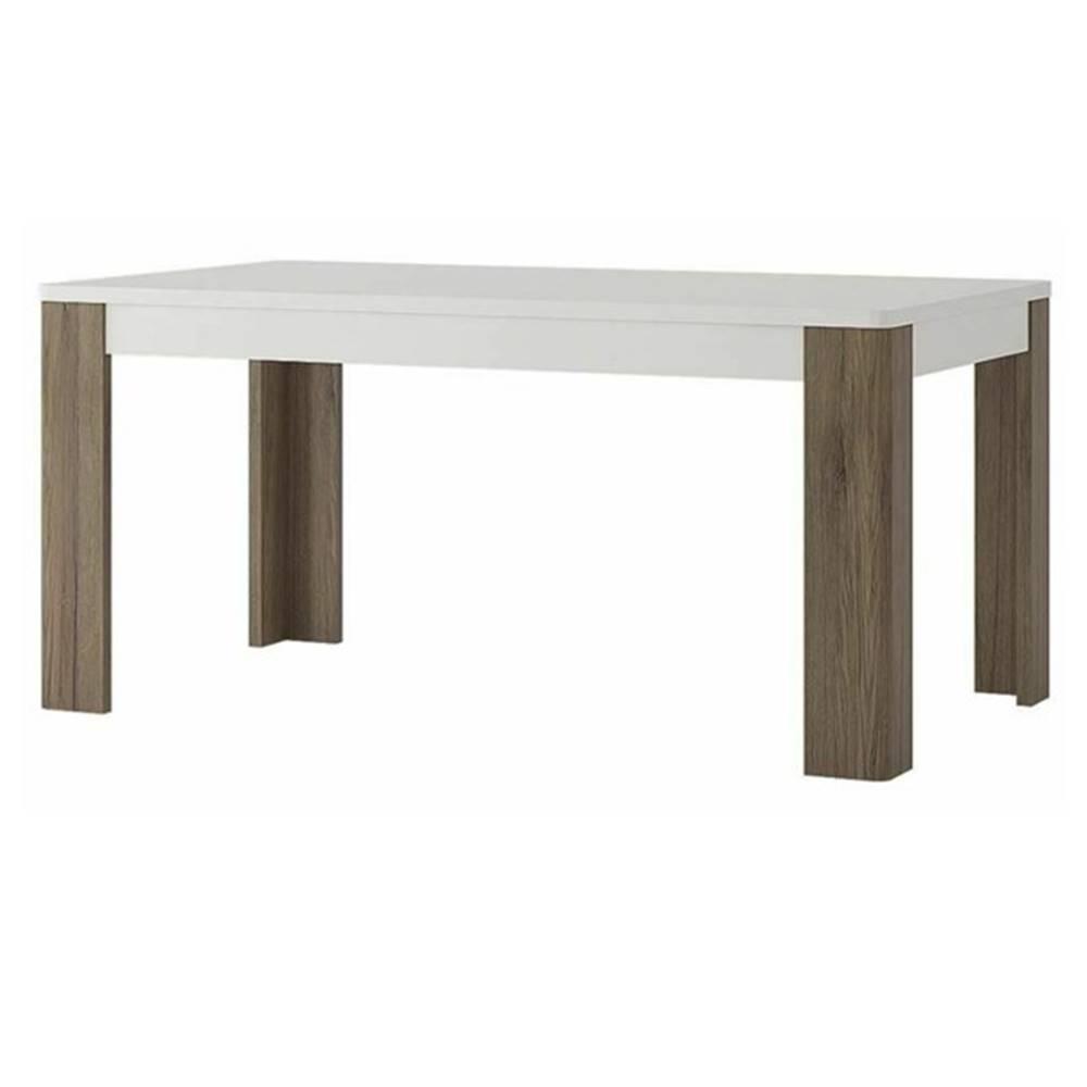 Sconto Jedálenský stôl MILANO alpská biela/dub sanremo tmavý