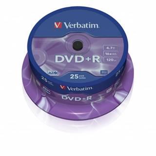 Disk Verbatim DVD+R, 4,7GB, bez možnosti potlače, 25 ks 43500