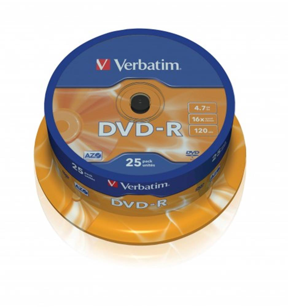 Verbatim Disk Verbatim DVD-R, 4,7GB, bez možnosti potlače, 25 ks 43522