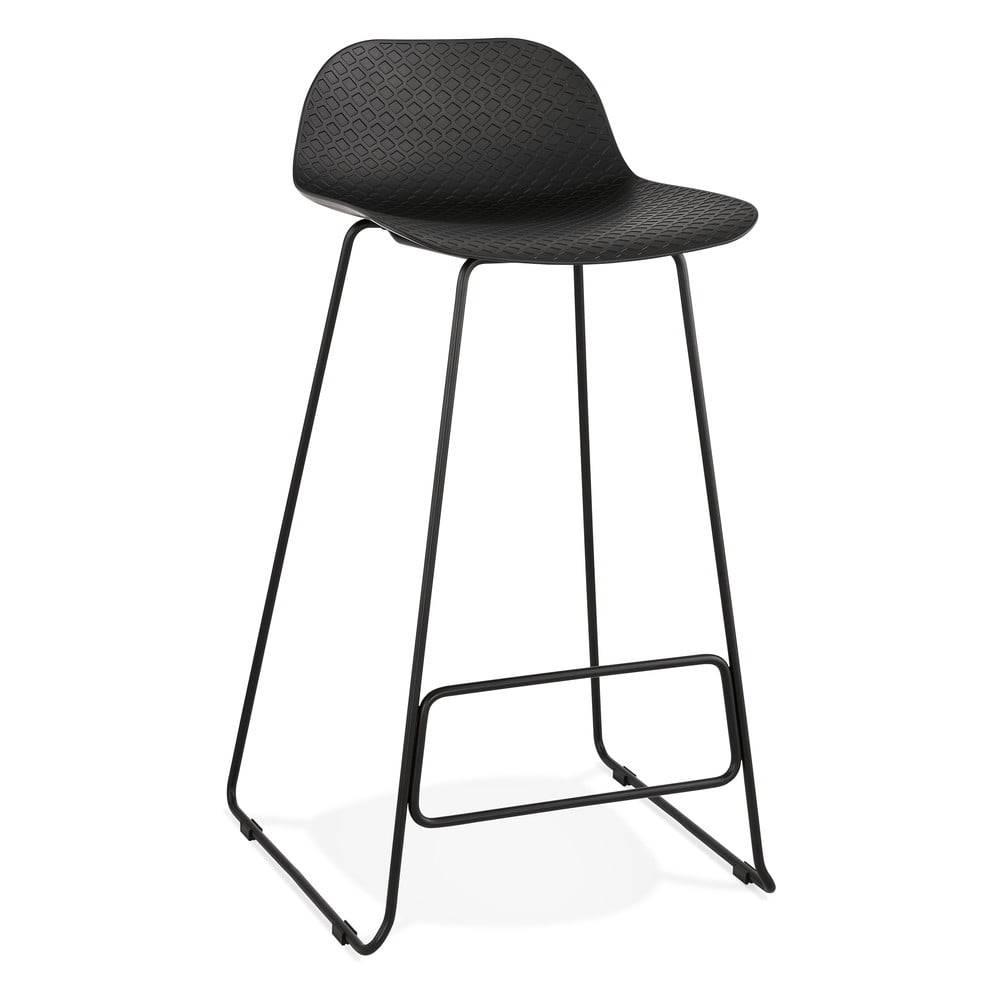 Kokoon Čierna barová stolička s čiernymi nohami Kokoon Slade, výška sedu 76 cm