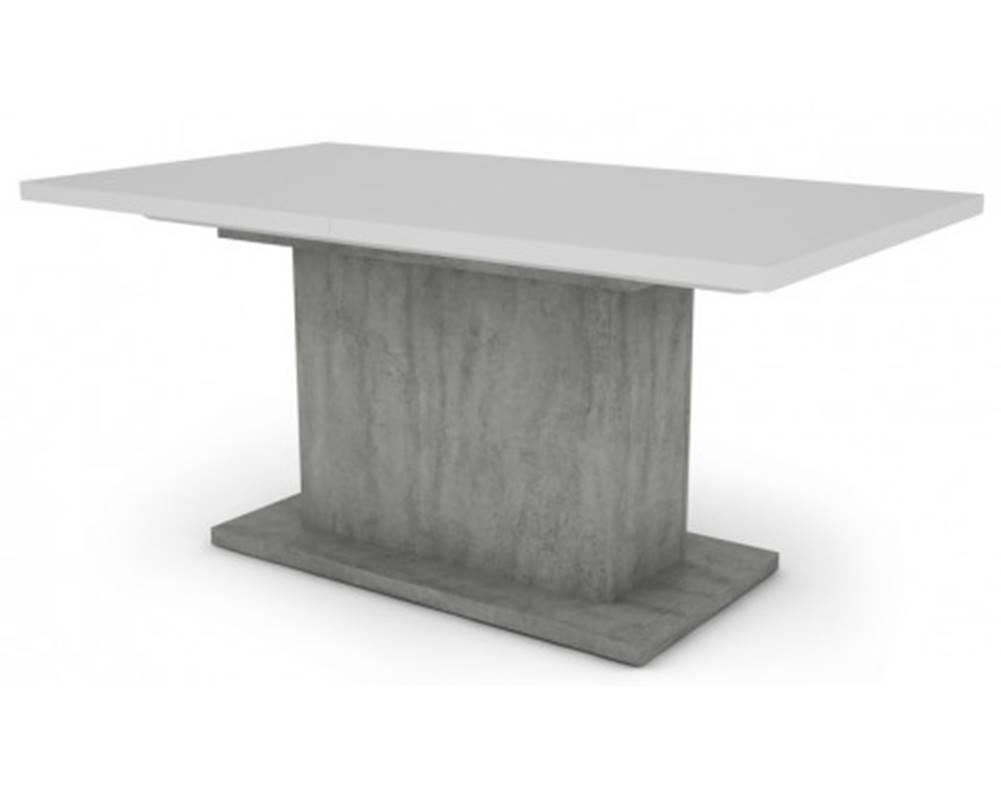 ASKO - NÁBYTOK Jedálenský stôl Paulo 160x90 cm, biely/beton, rozkladací%