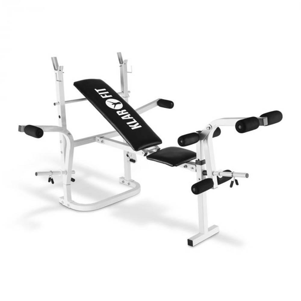 KLARFIT KLARFIT HB3BC-W, tréningová lavica, posilňovanie rúk, nôh, odkladacia plocha, biela