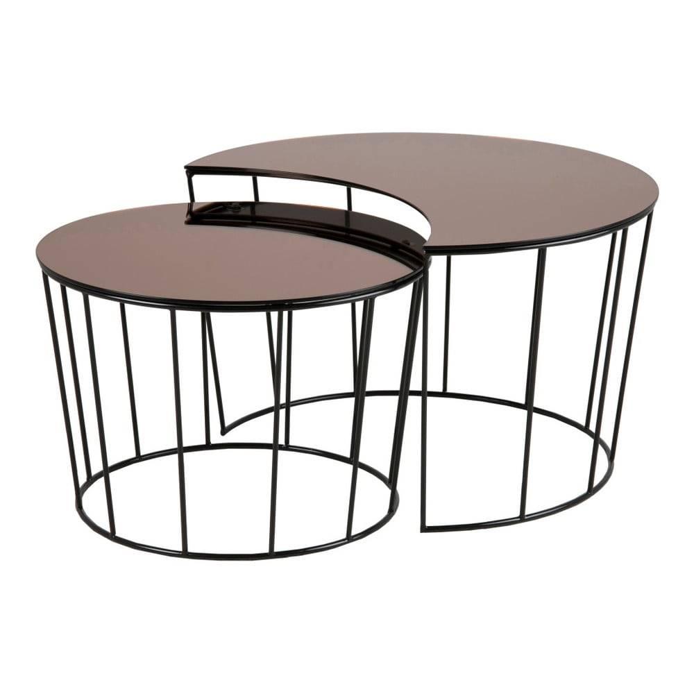 Actona Súprava 2 odkladacích stolíkov v čierno-bronzovej farbe Actona Sunmoon