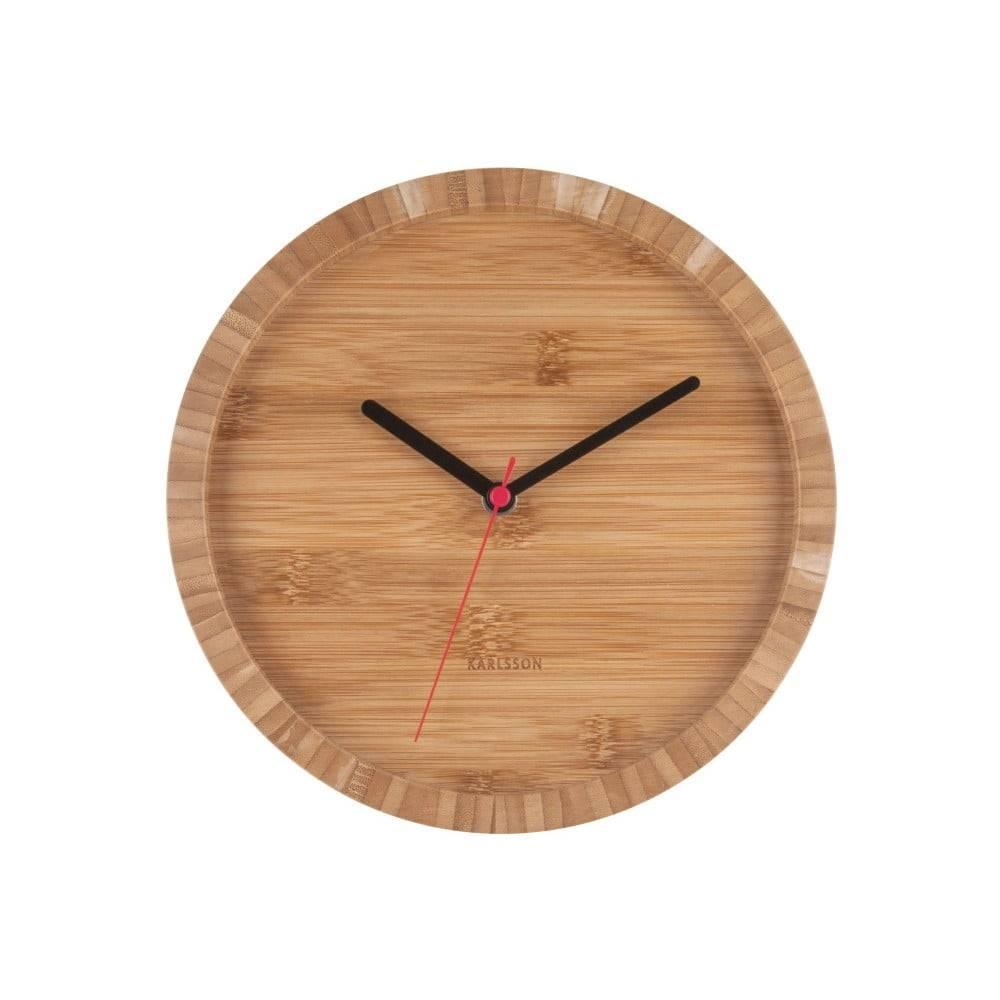 Karlsson Hnedé nástenné bambusové hodiny Karlsson Tom, ⌀ 26 cm