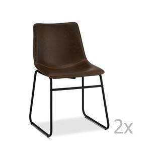 Sada 2 tmavohnedých stoličiek FurnhoIndiana