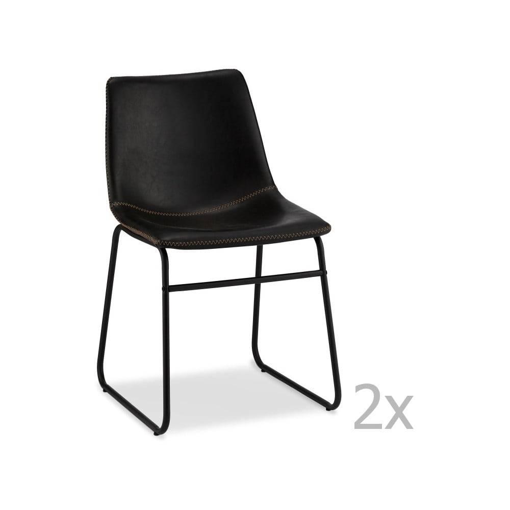 Furnhouse Súprava 2 čiernych stoličiek FurnhoIndiana
