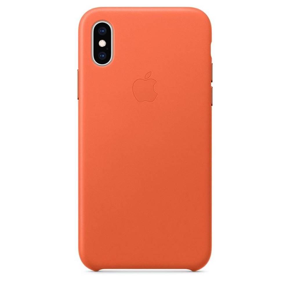 Apple Kryt na mobil Apple Leather Case pre iPhone Xs - temne oranžový