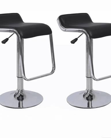 2 kusy barová stolička ekokoža čierna/chróm ILANA