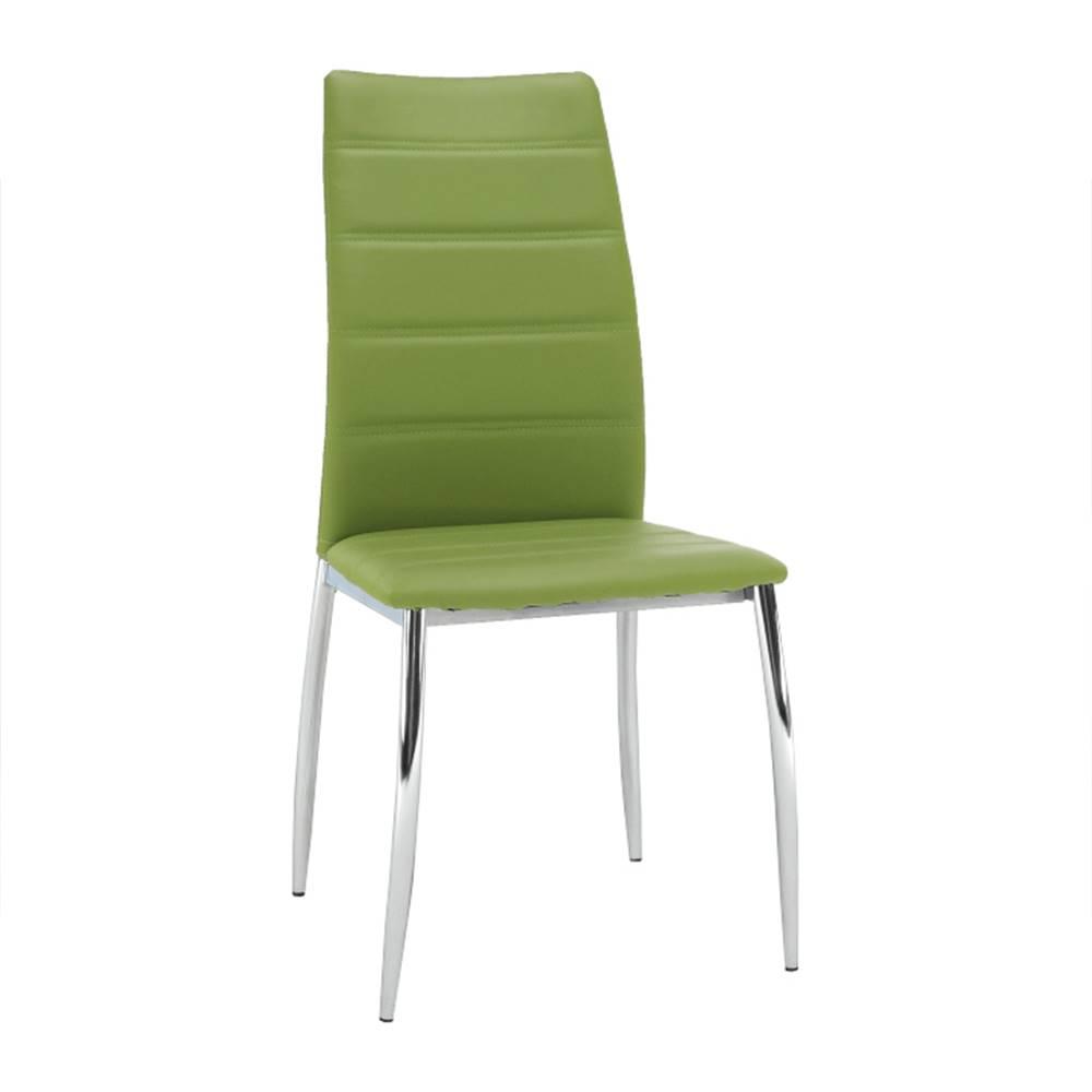 Tempo Kondela Jedálenská stolička ekokoža zelená/chróm DELA