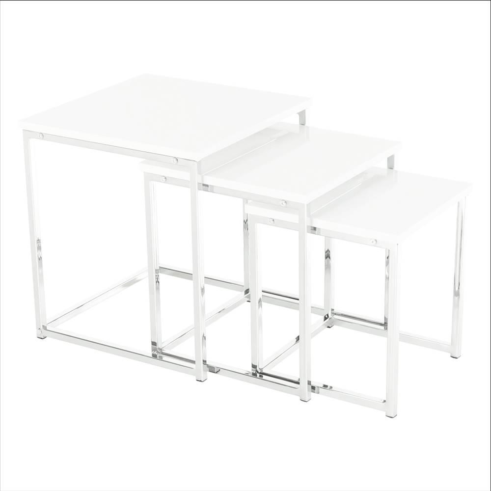 Tempo Kondela Set 3 konferenčných stolíkov biela extra vysoký lesk ENISOL TYP 3